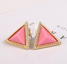 Retro Colorful geometric triangle Stud Earrings Candy colors E21 7g(China (Mainland))