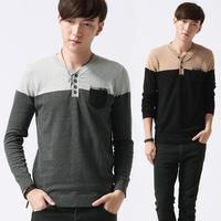 Popular Autumn V-Neck Collar Thin Thread Cotton Knitted Sweater with a small Pocket Wholesale