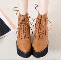Punk design strap rivets flat platform lace up pointed toe women ankle boots 2014 winter new fashion motorcycle boots 321