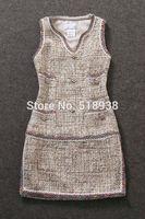 New 2014 autumn winter women elegant luxury fashion beading wool dress woolen sleeveless v-neck runway brand casual dresses tank