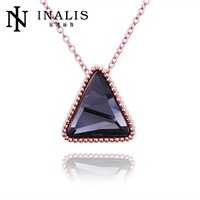 N530 Wholesale! Nickle Free Antiallergic 18K Real Gold Plated Triangle Shape Fine Quality 2014 Fashion Necklace, Free Shipping