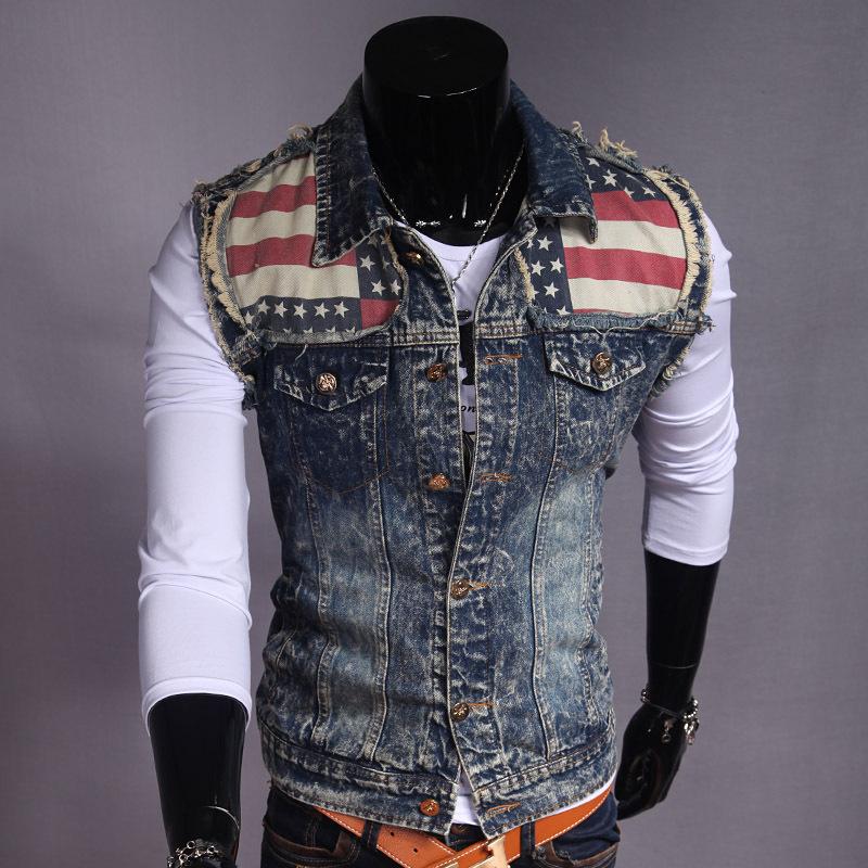 2015 New Fashion Man European American Man Jeans Vest&OverCoat Slim Frayed Men Vintage Watch Jeans Vest Male vestuario de ganga(China (Mainland))