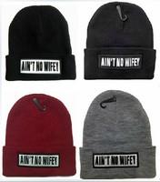 4H304 AIN'T NO WIFEY Brand 2014 New Women's Hip Hop Warm Beanie Cap Winter Autumn Women Knitted Hats Men Beanies Free Shipping