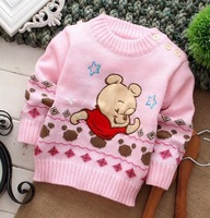 2014 new arrival fashion long sleeve cotton cartoon character bears cubs floral o-neck baby's clothing sweaters free shipping