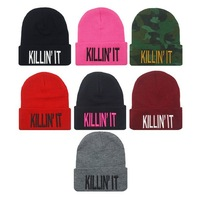 4H311 2014 New Fashion Flat Embroidery The Killin It Beanies For Men And Women Hip Hop Hats Knitted Caps for man and women