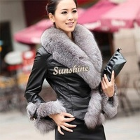 Dropshipping New winter women's pu leather jacket short paragraph Slim female models plus Big Fur collar jacket B11 SV006335
