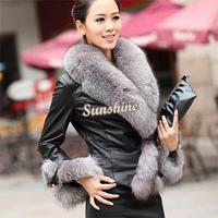 Dropshipping New winter women's pu leather jacket short paragraph Slim female models plus Big Fur collar jacket B11 SV006335