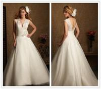 2014 New Arrival Designers White Lace A Line Wedding Dresses Organza V Neck Backless Bridal Dresses Tulle HJ3391