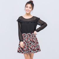 Plus size clothing 2014 autumn long-sleeve ruffle chiffon shirt top female