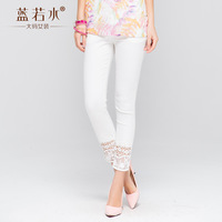 Plus size clothing 2014 autumn lace patchwork casual ankle length trousers