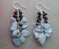 Great!! Aquamarine&Onyx Earrings-925 Silver Hook  free + shippment