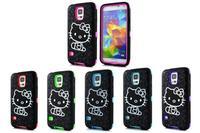 Hello kitty Hybrid Impact Heavy Duty Rugged Combo Dual Layer Rubber Case For Samsung Galaxy S5  I9600 +10pcs/lot  Free Shipping