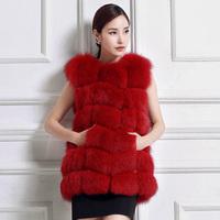 2014 New Women Genuine Fox Fur Vest Patchworked Full Pelt Natural Fox Fur Winter Coat Sleeveless Luxury Elegant Female Coat
