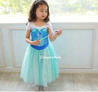2014 New Fashion Summer Baby Girl Child Kids Party Short Sleeve Party Princess Paillette Ruffle Frozen Anna Elsa Dress H0140805