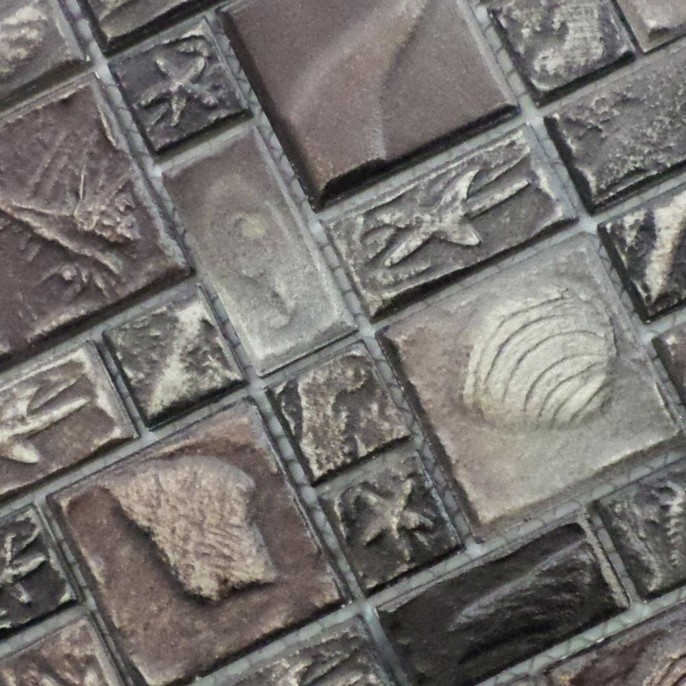 mosaic art ceramic bathroom tiles embossed antique grey small brick 3d