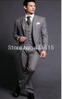 2015 Grey Groom Tuxedos/Wedding Groomsman/Bridegroom Best man Suit/man wedding suit/tuxedo wedding suit(Jacket+Pants+Tie+Vest)
