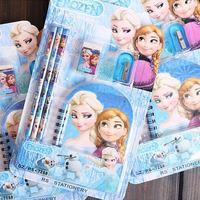 Free  Shipping,Wholesale, Stationery Set Student Notebook+Pencil+Eraser Cartoon Wood Desk Set Best School Gift