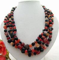 Amazing! 4Strds Onyx&Carnelian Necklace  +free shippment