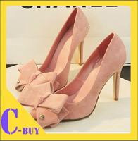 Free shipping 2014 fashion summer vintage pumps high heel with 10 CM wedding bow shoes for women .