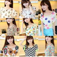2014 Korean Fashion Women Chiffon Shirt Ladies Saika Sleeve Tops 4 Pattern A487 Wholesale