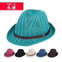 YJA-D03 Korean version of spring and summer fashion ladies jazz hat straw hats wholesale hollow belt buckle female