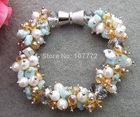 Stunning! Coral&Carnelian&Citrine Bracelet   +FREE SHIPPMENT