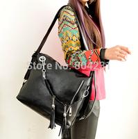 2014 new women handbag pu leather woman messager tassel bag free shipping