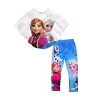 Frozen Girls Clothing Sets Frozen Elsa Cloak + Frozen Legging Pant 2pcs Set
