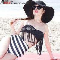 Cheap high waisted striped bikinis set biquinis bathing suits vintage tassels swimwear push up brand bandage swimsuit