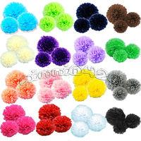 "Free shipping 12pcs mix 3 size (8"",10"",14"") Tissue Paper Pom Poms Wedding Party Home Decor Craft Mix colors uPick"