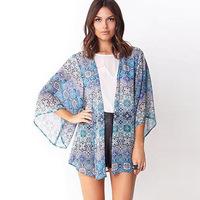L271 Women's 2014 fashion blue floral print chiffon kimono cardigan top