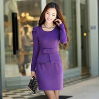 2014 autumn women's slim elegant long-sleeve slim medium-long basic one-piece dress