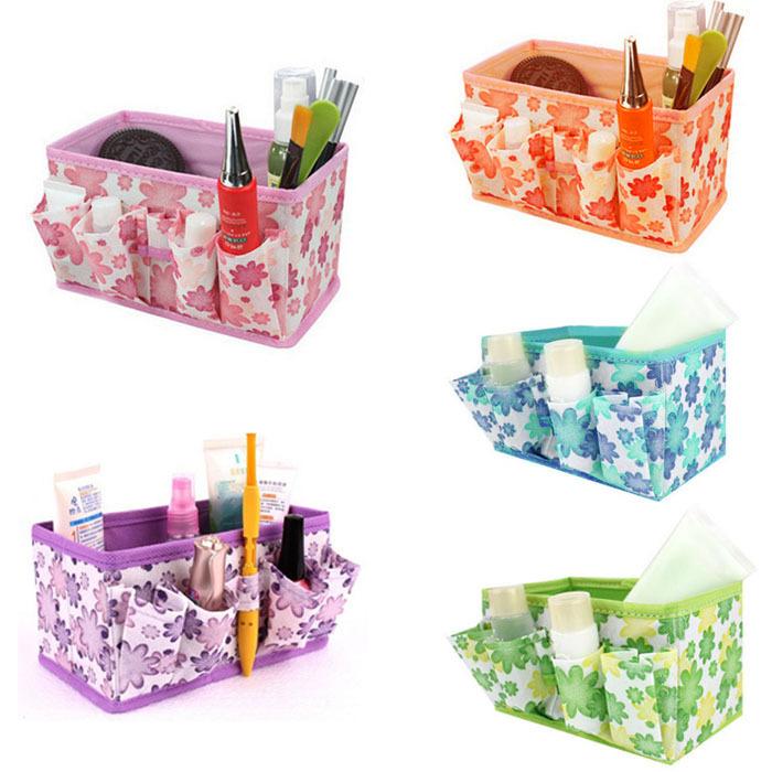 Fashion Makeup Cosmetic Storage Box Bag Bright Organiser Foldable Stationary Container Feitong(China (Mainland))