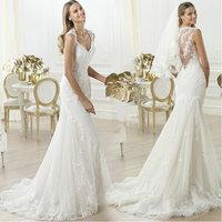 DIS Hot White Lace Wedding Dress custom size 4 6 8 10 12 14 2015 vestido de noiva renda Factory Retail Bridal Gown D-8079
