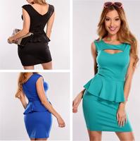 2014 New Fashion Women Sexy Hollow Out Chest Peplum Casual Dress Elegant OL Work Dress M L XL Plus Size Dress Party Dresses