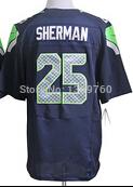 Mens Cheap American Seattle Football Jersey 25 Richard Sherman Embroidery Logo Elite Jerseys(China (Mainland))