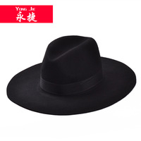 new Korean pure woolen hat lady  fall and winter fashion flat brim jazz  hat