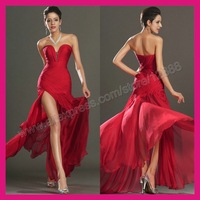 Free Shipping-Mermaid Style Chiffon Sweetheart Best Selling Side Slit Red Evening Dress 2014 For New Year