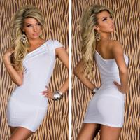 Bodycon Dress 2014 New Fashion free Size Women Sleeveless one shoulder solid Sexy Clubwear Mini Party Dress Casual White Blue