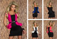 M L XL plus size Colors Blue purple black Woman New Fashion Elegant work dress  2014 Office Lady Dress twinset women