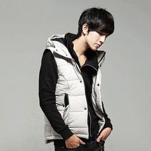 HOT! 2014 new black-and-white  Winter Warm Man's Down  Waistcoat detachable cap men slim casual cotton vest waistcoat(China (Mainland))