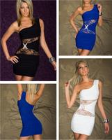 2014 summer new european design fashion women sexy lace one shoulder sleeveless party club wear bodycon mini dress work dress