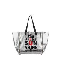 2014 designer brand fashion silver punk genuine leather women handbag zipper tote shopping bag ladies shoulder bags bolsa couro