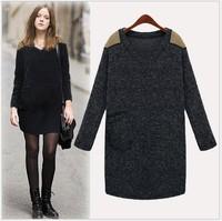 2014 autumn new women loose large size dress Fat woman fashion long sleeve metal badges woolen bottoming dresses plus size3XL4XL