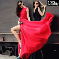 2014 summer luxury slim chiffon plus size clothing mopping the floor dress full one-piece dress