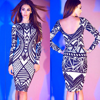 Drop Ship New Ladies' Flower Print Long Sleeve Sexy Bandage Dresses Women Elegant Elastic party patchwork Bodycon 053