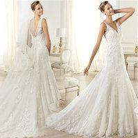 DIS 2014 V-neck Lace Wedding Dresses 2015 High Quality Newest Sale vestidos de novia Factory Retail Bridal Gown D-8084