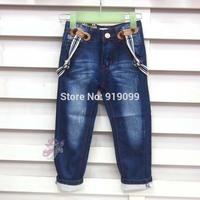 5pcs/lot (2-8T) Wholesale Baby Kids Jeans Denim pants za leisure trousers with suspenders kids casual pants with braces