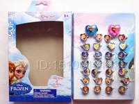 300pcs Fast shipping NEW cartoon Frozen Elsa Anna Olaf Plastic Rings Mix Order (30pieces/box) wholesales