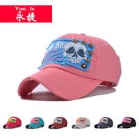 F108 Korean sticking cloth skull head rivet star baseball cap   outdoor sunshade hats wholesale lady's hat